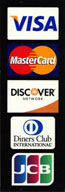 We accept Visa, Mastercard, Discover, and Diner's Club